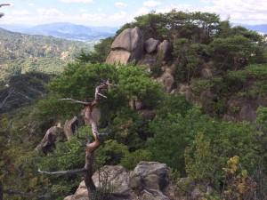 最後から二番目のピークから、本当の山頂を眺める。ここは一旦左に下って、前方に見える巨石のあたりを登る。