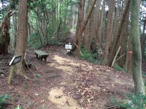 肩越の辻。背後が松尾山。左に下ると文保寺。