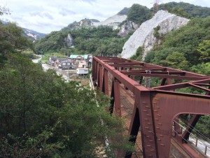 JRの鉄橋を見下ろす。真下はトンネル。