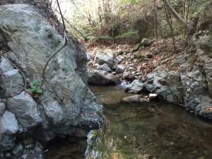 この岩を乗り越えて進む。ロープが下がっている。