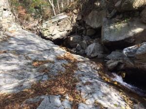 大きな岩盤の端を流れる沢。