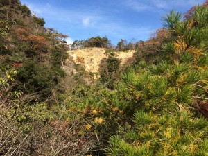 上流の土砂の斜面が見える。