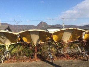 駅前の駐輪場。向こうに赤神山が見える。