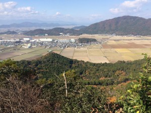岩戸山から、北側の眺め。新幹線が走っているのが見えた。