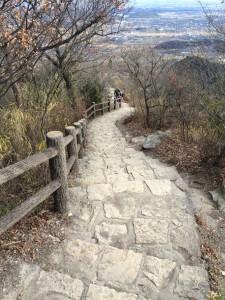 山頂直下は立派な参道になっている。