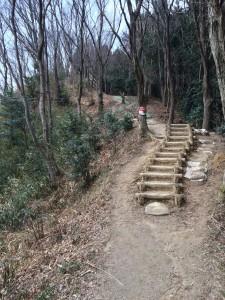 国見山山頂への階段。