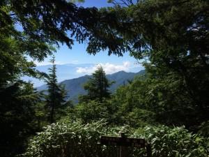 富士見ベンチから。右寄りの、雲の湧き上がっている向こうに富士山が見える。